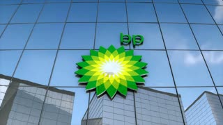 Editorial BP logo on glass building.