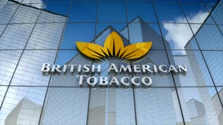 Editorial, British American Tobacco plc logo on glass building.