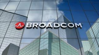 Editorial, Broadcom corporation logo on glass building.