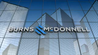 Editorial, Burns & McDonnell logo on glass building.