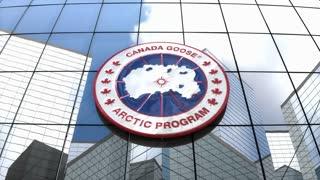 Editorial, Canada Goose Inc. logo on glass building.