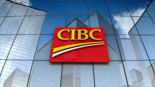 Editorial, Canadian Imperial Bank of Commerce logo on glass building.