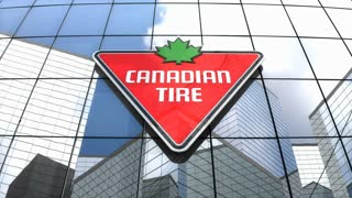 Editorial, Canadian Tire Corporation, Limited logo on glass building.