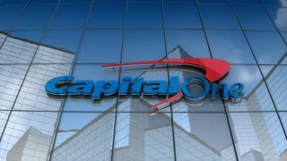 Editorial, Capital One logo on glass building.