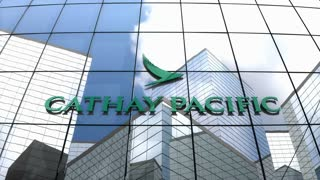 Editorial, Cathay Pacific Airways Limited logo on glass building.