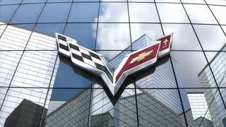 Editorial, Chevrolet Corvette logo on glass building.