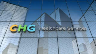 Editorial, CHG Healthcare Services logo on glass building.