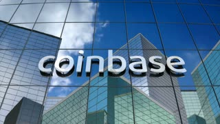 Editorial, Coinbase logo on glass building.
