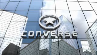 Editorial, Converse, Inc. logo on glass building.