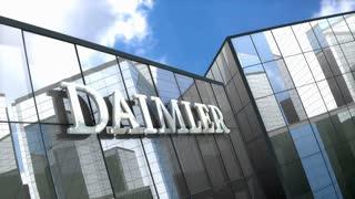 Editorial Daimler AG logo on glass building.