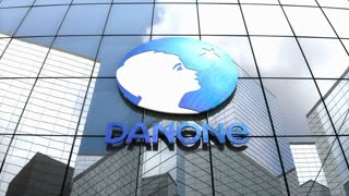 Editorial, Danone S.A. logo on glass building.