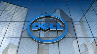 Editorial, Dell logo on glass building.