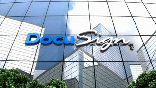Editorial, DocuSign logo on glass building.