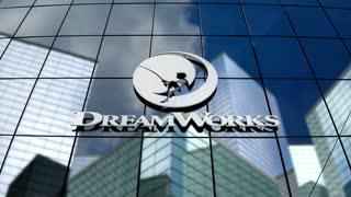 Editorial, DreamWorks SKG logo on glass building.