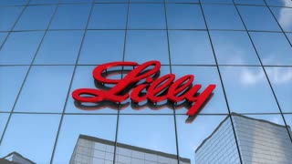Editorial Eli Lilly & Co logo on glass building.