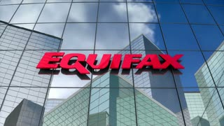 Editorial, Equifax Inc. logo on glass building.