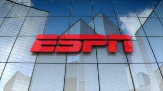 Editorial, ESPN Inc. logo on glass building.