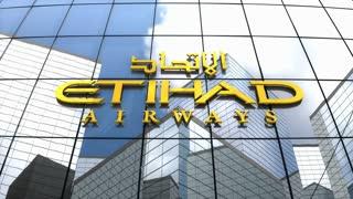 Editorial, Etihad Airways logo on glass building.