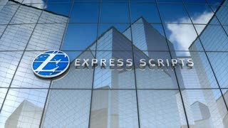Editorial, Express Scripts Holding Company logo on glass building.