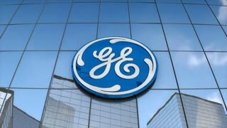 Editorial General Electric logo on glass building.