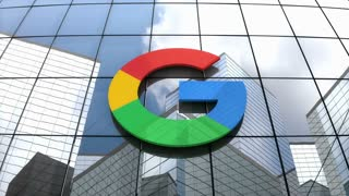 Editorial, Google logo on glass building.