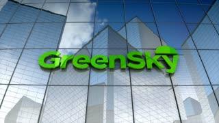 Editorial, GreenSky LLC logo on glass building.