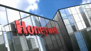 Editorial Honeywell logo on glass building.