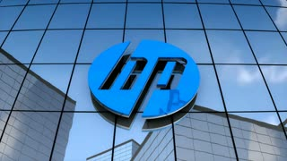 Editorial, HP logo on glass building
