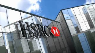 Editorial, HSBC Bank logo on glass building.