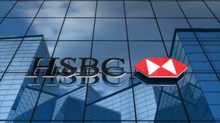 Editorial, HSBC Bank logo on glass building.