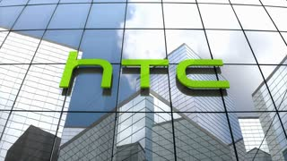 Editorial, HTC Corporation logo on glass building.