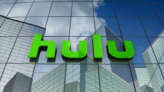 Editorial, Hulu LLC logo on glass building.