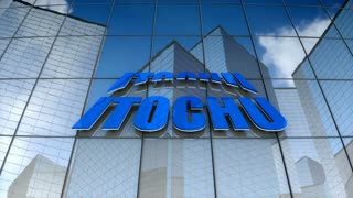 Editorial, Itochu Corporation logo on glass building.