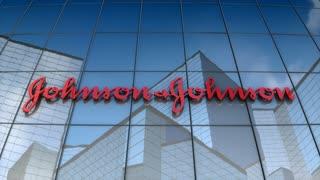 Editorial, Johnson & Johnson logo on glass building.