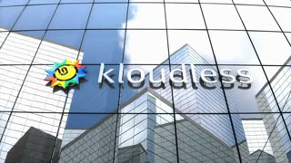 Editorial, Kloudless logo on glass building.