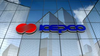 Editorial, Korea Electric Power Corporation logo on glass building.
