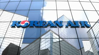 Editorial, Korean Air Lines Co., Ltd. logo on glass building.
