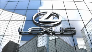 Editorial, Lexus logo on glass building.