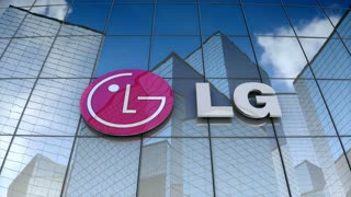 Editorial, LG Electronics Inc. logo on glass building.