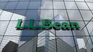 Editorial, L.L.Bean, Inc. logo on glass building.