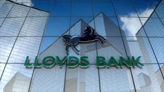 Editorial, Lloyds Bank plc logo on glass building.