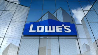 Editorial, Lowe's Companies, Inc. logo on glass building.