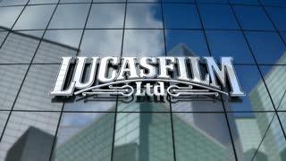 Editorial, Lucasfilm Ltd. LLC logo on glass building.
