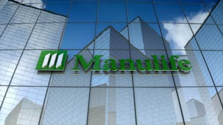 Editorial, Manulife Financial Corporation logo on glass building.