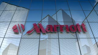 Editorial, Marriott corporation logo on glass building.
