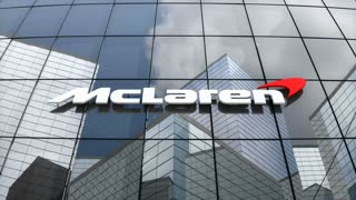 Editorial, McLaren Technology Group logo on glass building.