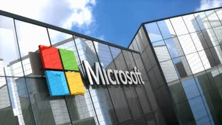Editorial, Microsoft logo on glass building.
