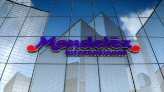 Editorial, Mondelez International, Inc. logo on glass building.