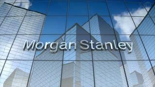 Editorial, Morgan Stanley logo on glass building.
