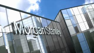 Editorial, Morgan Stanley logo on glass building.